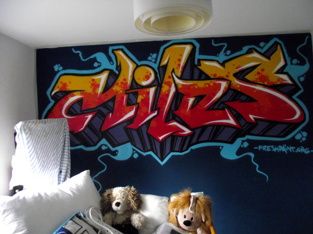 Graffiti wall art bedroom - Kids Graffiti Bedrooms