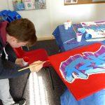 Graffiti workshop on canvas, Aberdeen