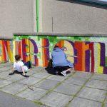 Graffiti workshop at the Sandveien community centre, Shetland