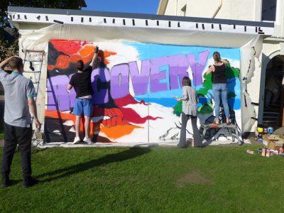 Graffiti workshop at the recovery walk