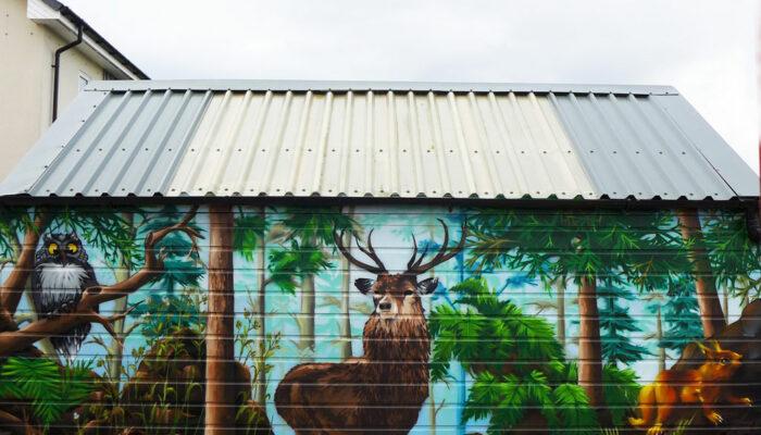 Autumn woodland mural